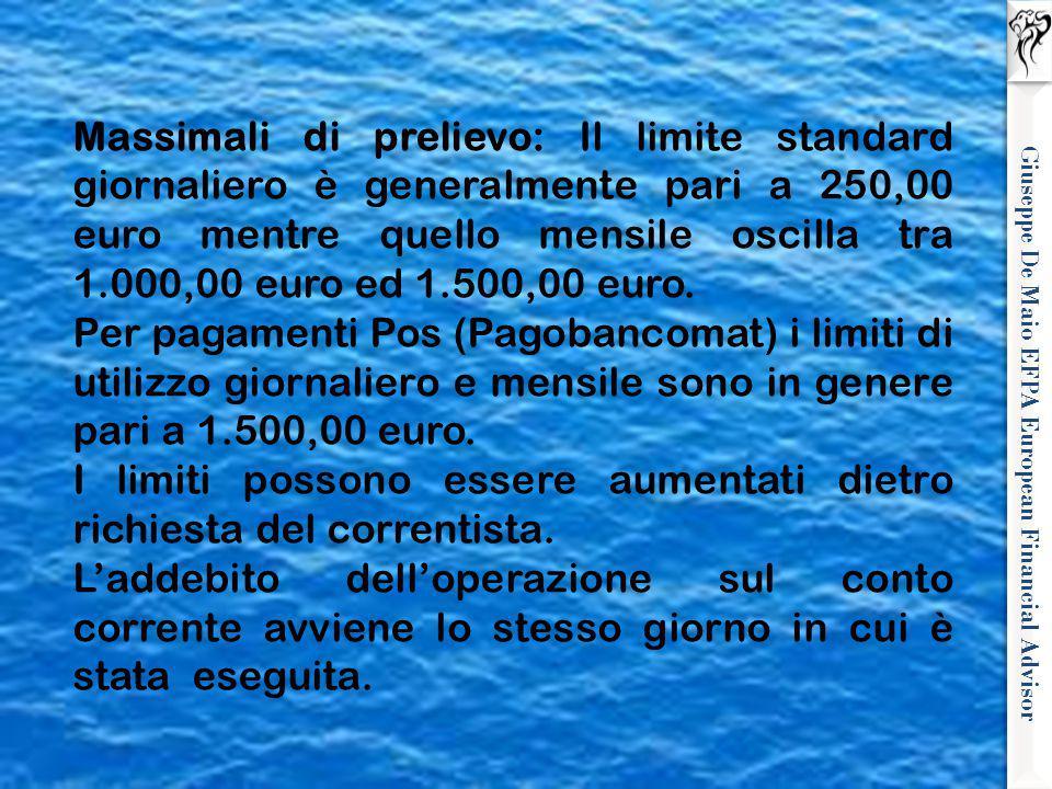 Giuseppe De Maio EFPA European Financial Advisor Massimali di prelievo: Il limite standard giornaliero è generalmente pari a 250,00 euro mentre quello