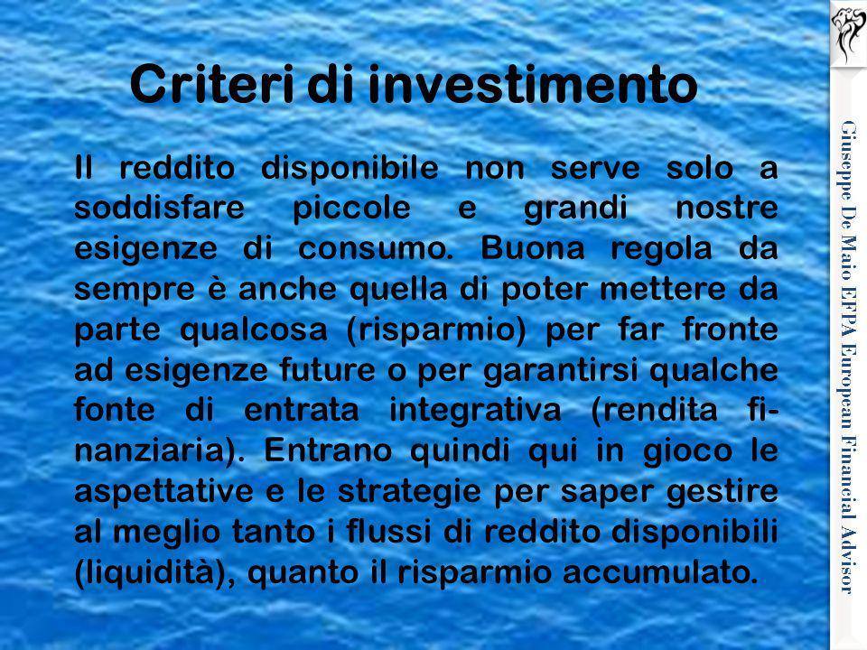 Giuseppe De Maio EFPA European Financial Advisor Il reddito disponibile non serve solo a soddisfare piccole e grandi nostre esigenze di consumo. Buona