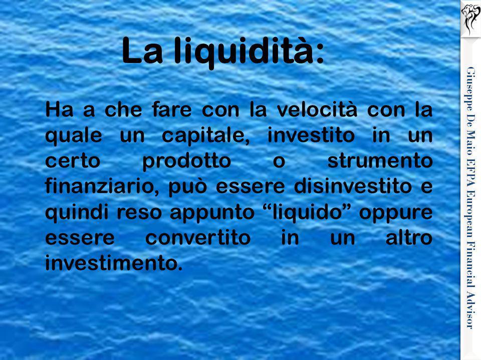 Giuseppe De Maio EFPA European Financial Advisor La liquidità: Ha a che fare con la velocità con la quale un capitale, investito in un certo prodotto