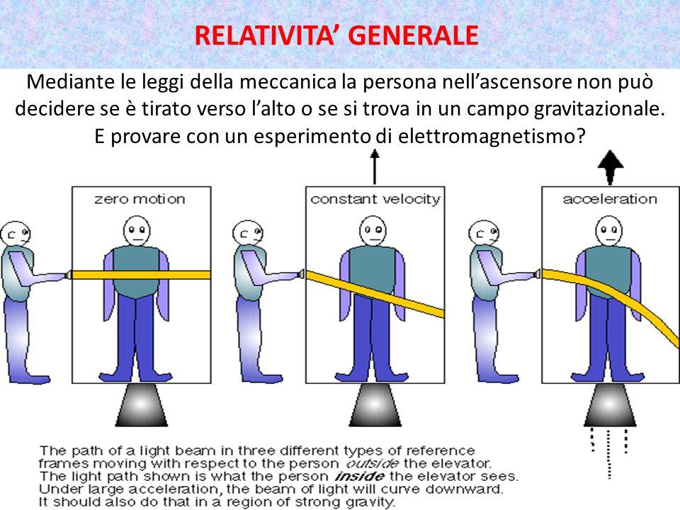 Mediante le leggi della meccanica la persona nell'ascensore non può decidere se è tirato verso l'alto o se si trova in un campo gravitazionale.