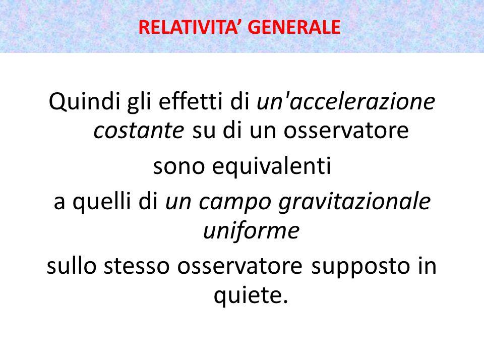 Quindi gli effetti di un accelerazione costante su di un osservatore sono equivalenti a quelli di un campo gravitazionale uniforme sullo stesso osservatore supposto in quiete.