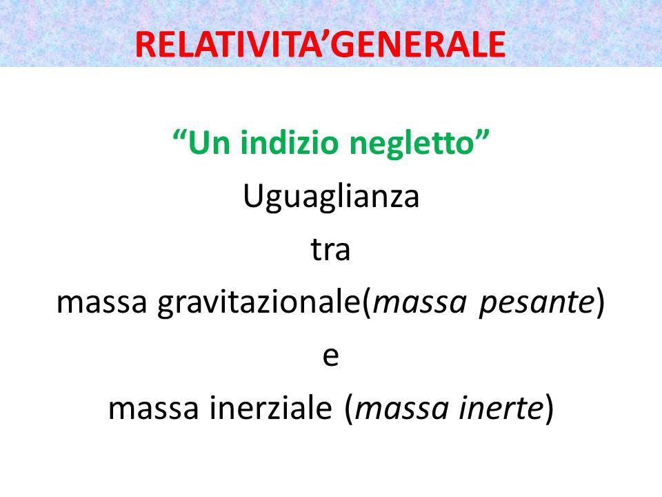 Un indizio negletto Uguaglianza tra massa gravitazionale(massa pesante) e massa inerziale (massa inerte) RELATIVITA'GENERALE