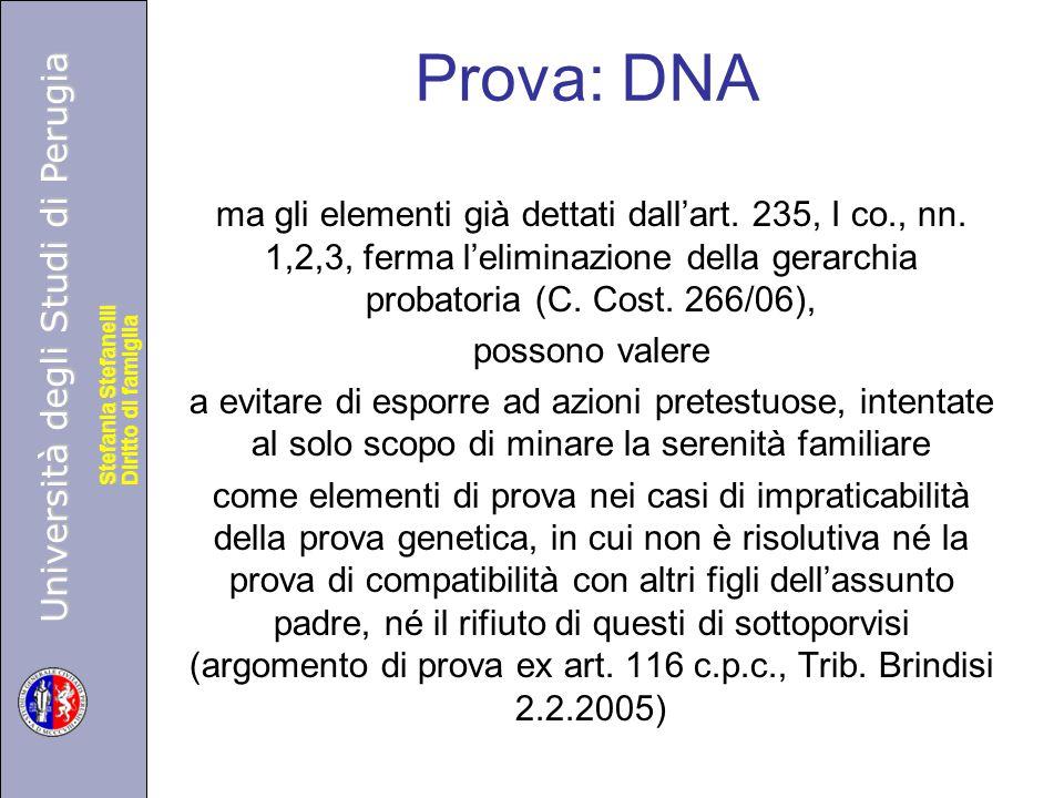 Università degli Studi di Perugia Diritto di famiglia Stefania Stefanelli Università degli Studi di Perugia Diritto di famiglia Stefania Stefanelli Prova: DNA ma gli elementi già dettati dall'art.