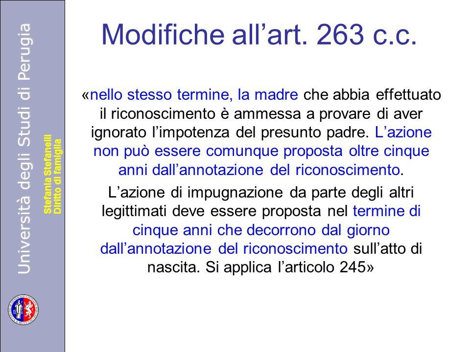 Università degli Studi di Perugia Diritto di famiglia Stefania Stefanelli Università degli Studi di Perugia Diritto di famiglia Stefania Stefanelli Modifiche all'art.