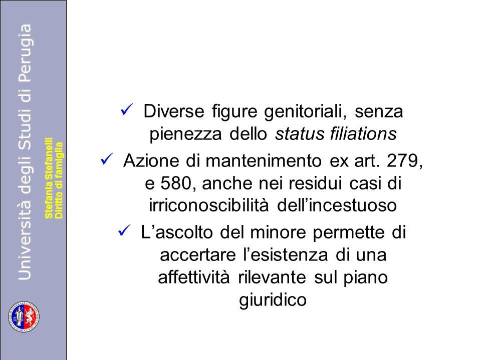 Università degli Studi di Perugia Diritto di famiglia Stefania Stefanelli Università degli Studi di Perugia Diritto di famiglia Stefania Stefanelli Diverse figure genitoriali, senza pienezza dello status filiations Azione di mantenimento ex art.