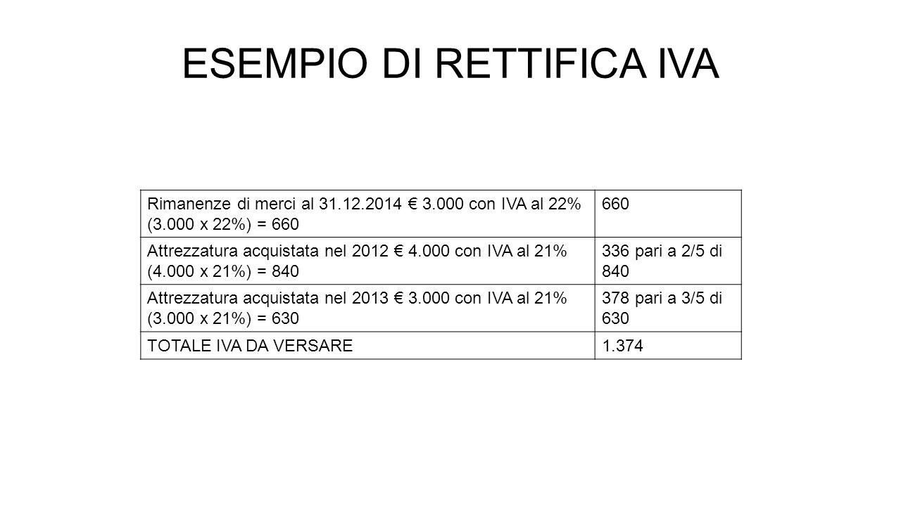 ESEMPIO DI RETTIFICA IVA Rimanenze di merci al 31.12.2014 € 3.000 con IVA al 22% (3.000 x 22%) = 660 660 Attrezzatura acquistata nel 2012 € 4.000 con IVA al 21% (4.000 x 21%) = 840 336 pari a 2/5 di 840 Attrezzatura acquistata nel 2013 € 3.000 con IVA al 21% (3.000 x 21%) = 630 378 pari a 3/5 di 630 TOTALE IVA DA VERSARE1.374