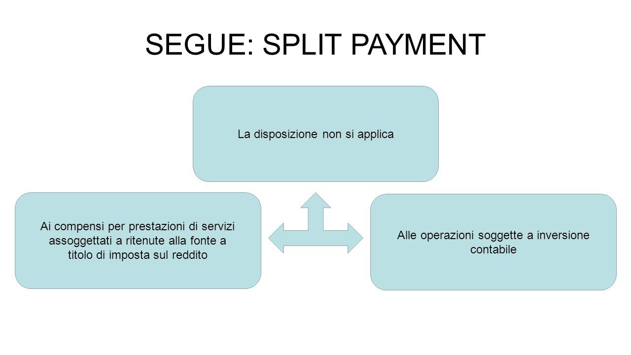 SEGUE: SPLIT PAYMENT La disposizione non si applica Ai compensi per prestazioni di servizi assoggettati a ritenute alla fonte a titolo di imposta sul reddito Alle operazioni soggette a inversione contabile