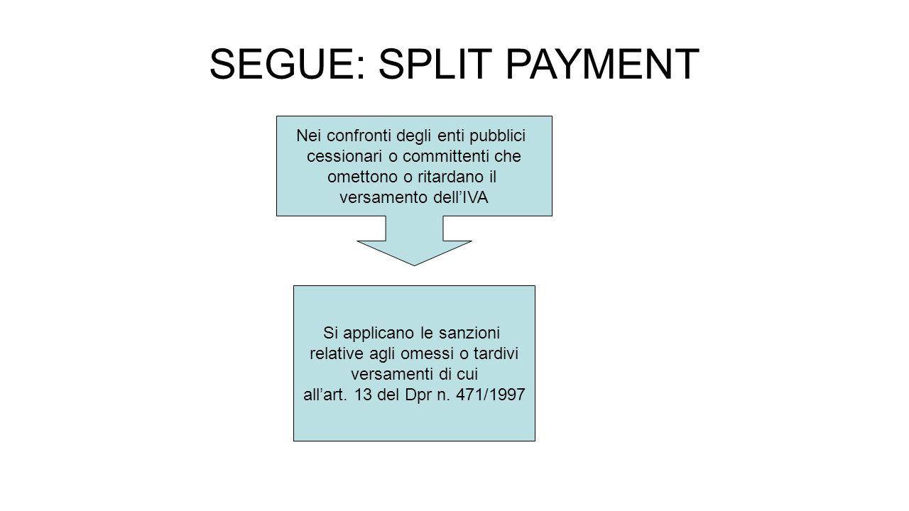 SEGUE: SPLIT PAYMENT Nei confronti degli enti pubblici cessionari o committenti che omettono o ritardano il versamento dell'IVA Si applicano le sanzioni relative agli omessi o tardivi versamenti di cui all'art.