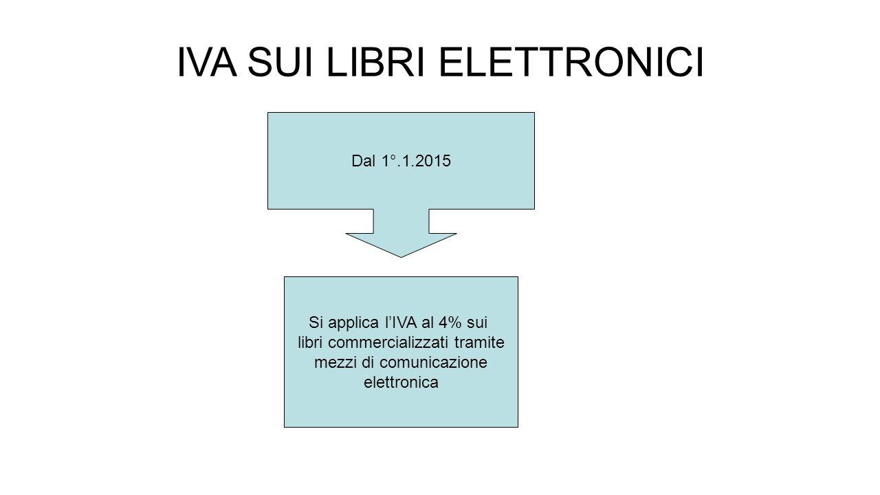 IVA SUI LIBRI ELETTRONICI Dal 1°.1.2015 Si applica l'IVA al 4% sui libri commercializzati tramite mezzi di comunicazione elettronica