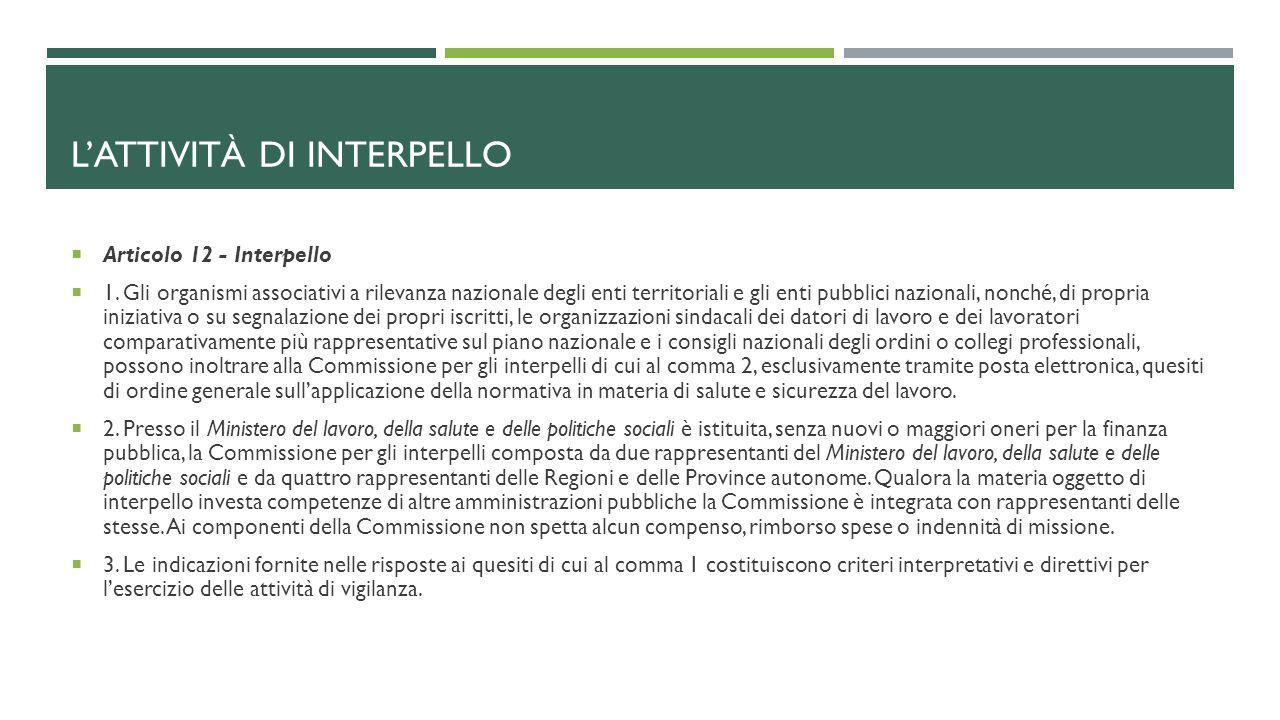 L'ATTIVITÀ DI INTERPELLO  Articolo 12 - Interpello  1. Gli organismi associativi a rilevanza nazionale degli enti territoriali e gli enti pubblici n