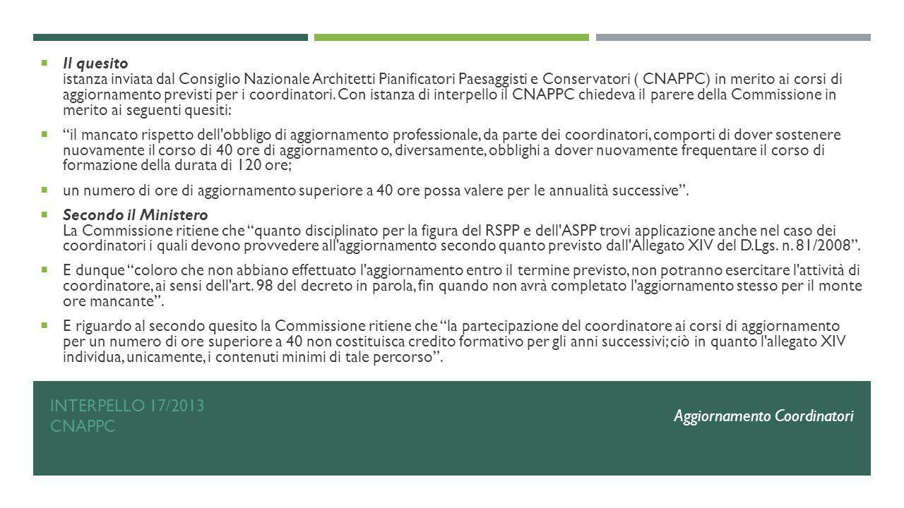 INTERPELLO 17/2013 CNAPPC  Il quesito istanza inviata dal Consiglio Nazionale Architetti Pianificatori Paesaggisti e Conservatori ( CNAPPC) in merito