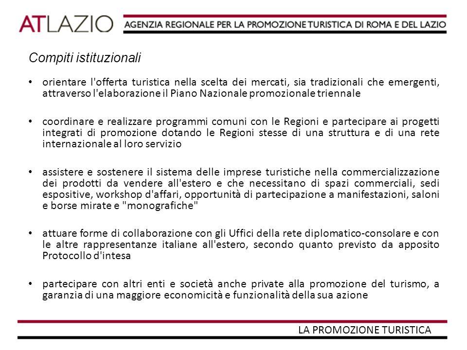 L'ENIT Nato nel 1919, l Ente Nazionale Italiano per il Turismo trasformato in ENIT- Agenzia nazionale del turismo con legge 14.5.2005 n.80, è lo strumento primario per realizzare le politiche di promozione dell immagine turistica dell Italia e di supporto alla commercializzazione dei prodotti turistici italiani nel mondo, qualificandosi anche come riferimento per azioni istituzionali mirate nell ambito comunitario ed internazionale.