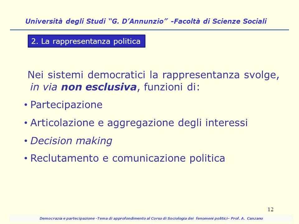Nei sistemi democratici la rappresentanza svolge, in via non esclusiva, funzioni di: Partecipazione Articolazione e aggregazione degli interessi Decis