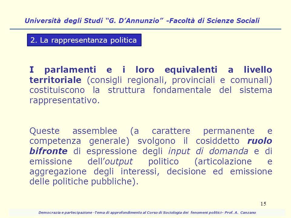 I parlamenti e i loro equivalenti a livello territoriale (consigli regionali, provinciali e comunali) costituiscono la struttura fondamentale del sist
