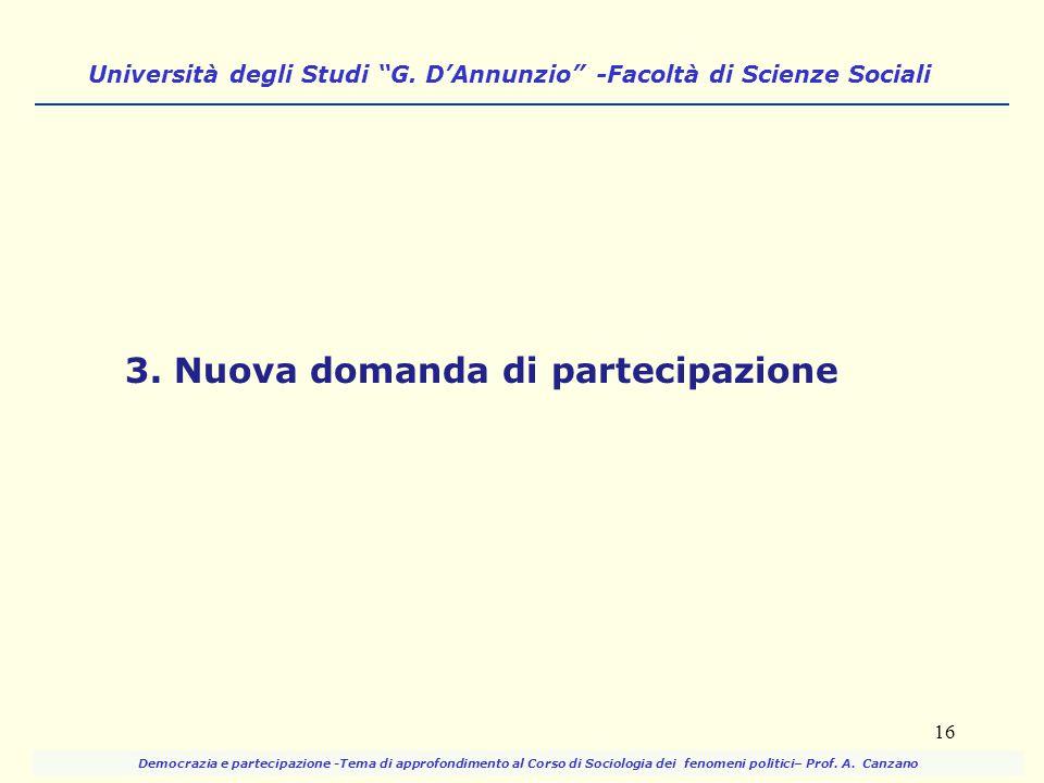 """Università degli Studi """"G. D'Annunzio"""" -Facoltà di Scienze Sociali 3. Nuova domanda di partecipazione 16 Democrazia e partecipazione -Tema di approfon"""