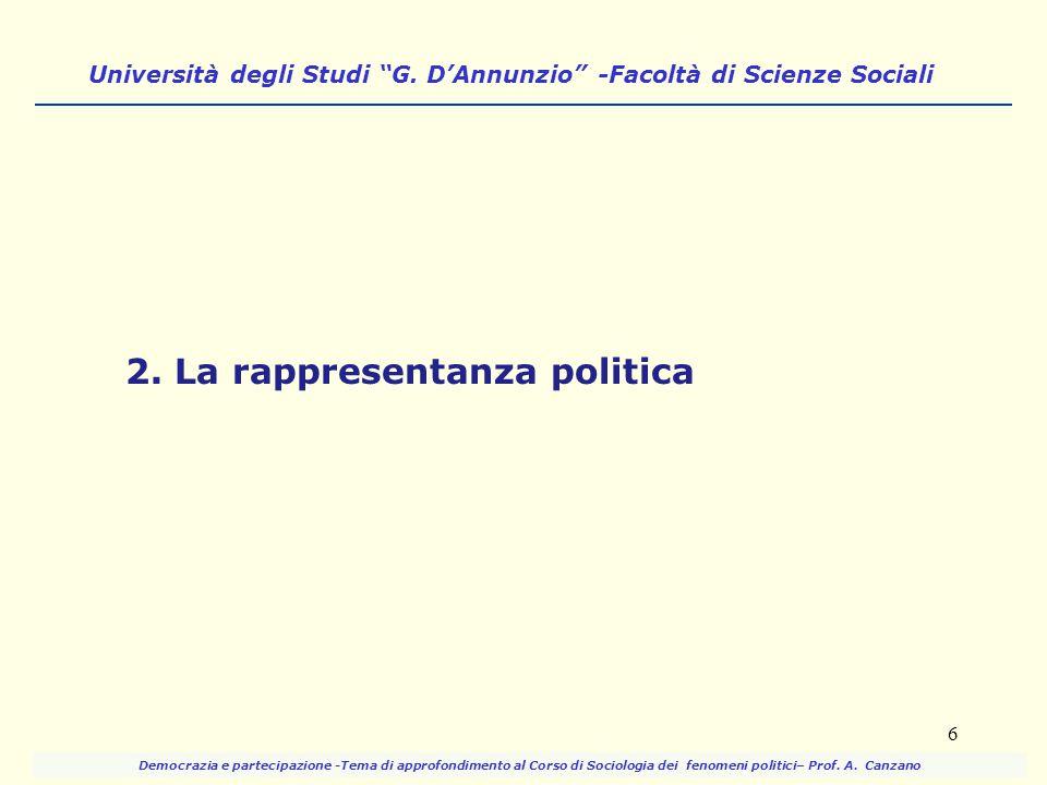 """Università degli Studi """"G. D'Annunzio"""" -Facoltà di Scienze Sociali 2. La rappresentanza politica 6 Democrazia e partecipazione -Tema di approfondiment"""