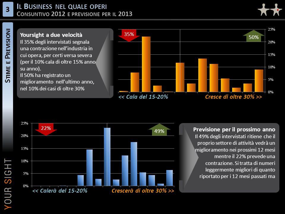 S TIME E P REVISIONI I L B USINESS NEL QUALE OPERI C ONSUNTIVO 2012 E PREVISIONE PER IL 2013 3 Previsione per il prossimo anno Il 49% degli intervistati ritiene che il proprio settore di attività vedrà un miglioramento nei prossimi 12 mesi mentre il 22% prevede una contrazione.