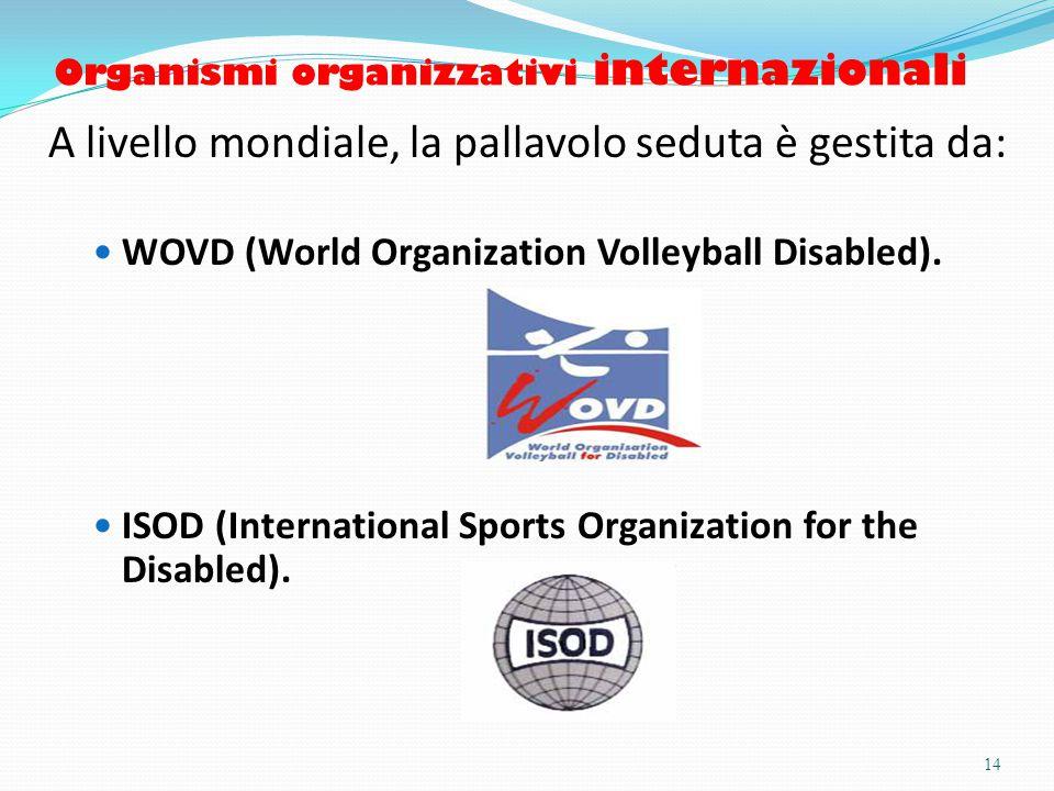 Organismi organizzativi internazionali A livello mondiale, la pallavolo seduta è gestita da: WOVD (World Organization Volleyball Disabled).
