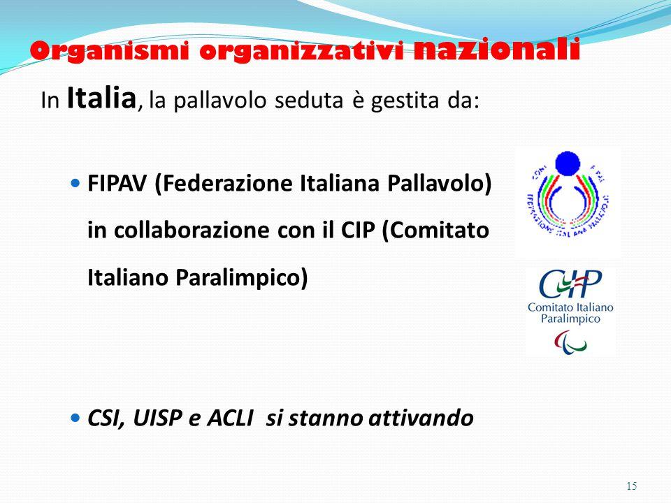 Organismi organizzativi nazionali In Italia, la pallavolo seduta è gestita da: FIPAV (Federazione Italiana Pallavolo) in collaborazione con il CIP (Comitato Italiano Paralimpico) CSI, UISP e ACLI si stanno attivando 15