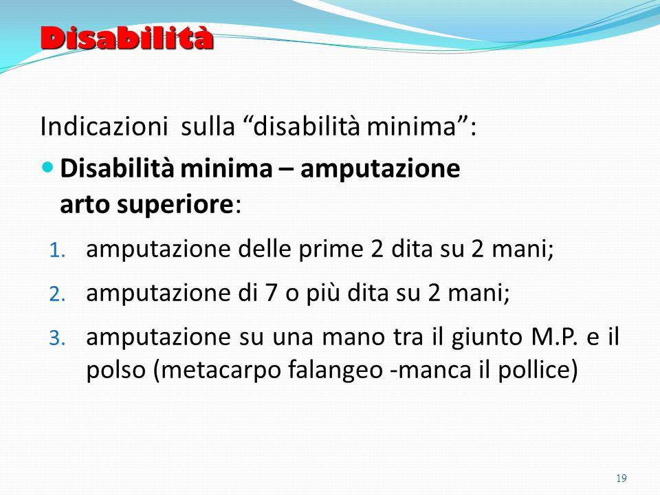 Disabilità Indicazioni sulla disabilità minima : Disabilità minima – amputazione arto superiore: 1.