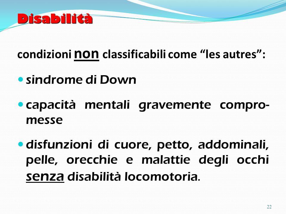 Disabilità condizioni non classificabili come les autres : sindrome di Down capacità mentali gravemente compro- messe disfunzioni di cuore, petto, addominali, pelle, orecchie e malattie degli occhi senza disabilità locomotoria.