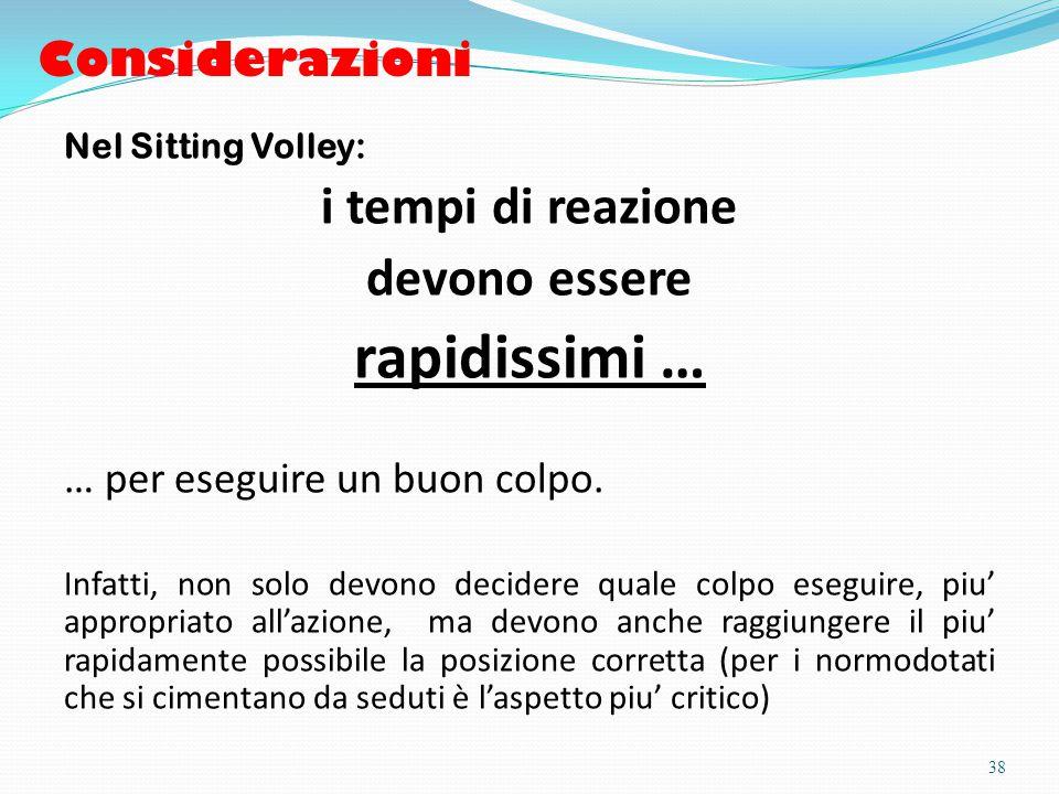 Considerazioni Nel Sitting Volley: i tempi di reazione devono essere rapidissimi … … per eseguire un buon colpo.