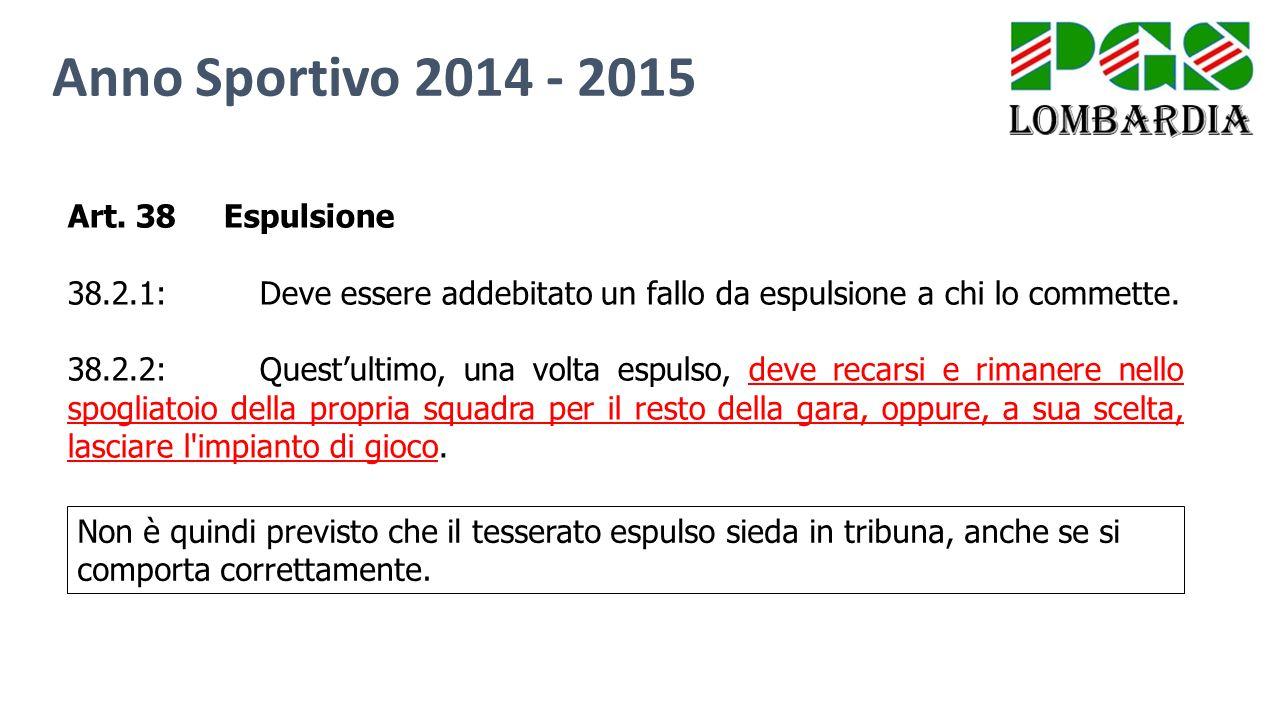 Anno Sportivo 2014 - 2015 Art. 38 Espulsione 38.2.1:Deve essere addebitato un fallo da espulsione a chi lo commette. 38.2.2:Quest'ultimo, una volta es