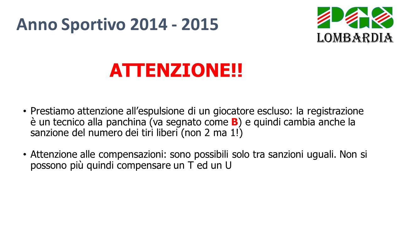Anno Sportivo 2014 - 2015 Prestiamo attenzione all'espulsione di un giocatore escluso: la registrazione è un tecnico alla panchina (va segnato come B)
