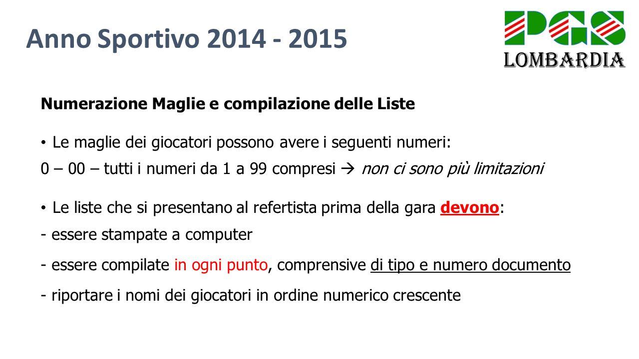 Numerazione Maglie e compilazione delle Liste Le maglie dei giocatori possono avere i seguenti numeri: 0 – 00 – tutti i numeri da 1 a 99 compresi  no