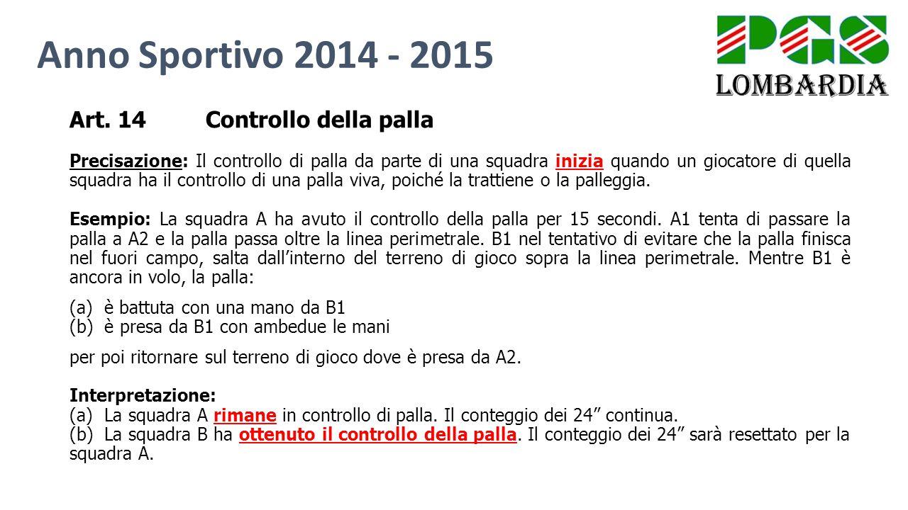 Art. 14Controllo della palla Precisazione: Il controllo di palla da parte di una squadra inizia quando un giocatore di quella squadra ha il controllo