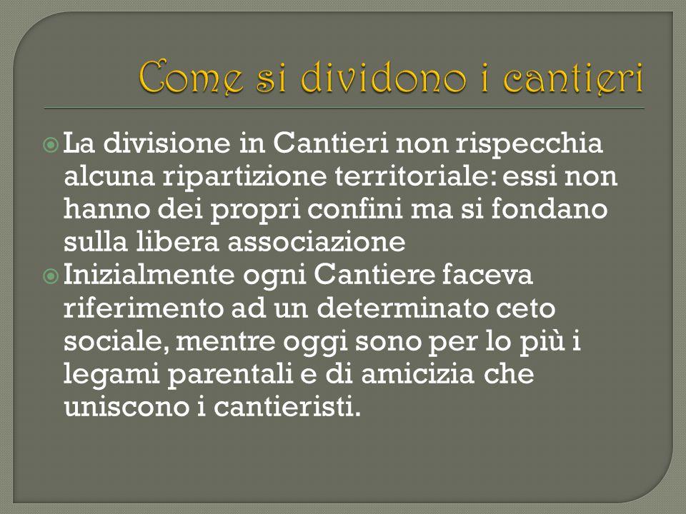  La divisione in Cantieri non rispecchia alcuna ripartizione territoriale: essi non hanno dei propri confini ma si fondano sulla libera associazione