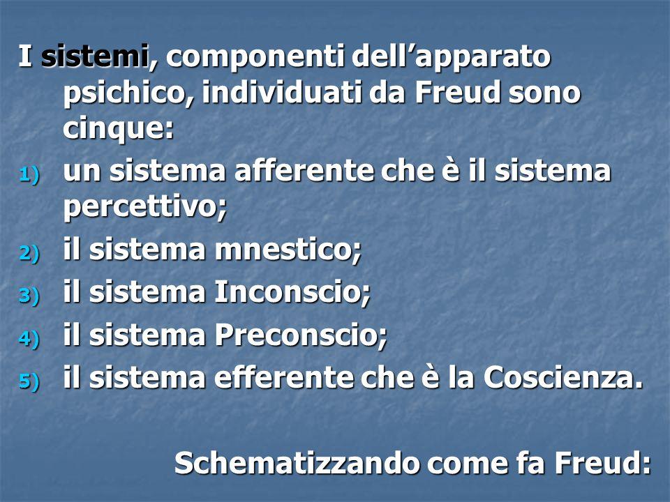 I sistemi, componenti dell'apparato psichico, individuati da Freud sono cinque: 1) un sistema afferente che è il sistema percettivo; 2) il sistema mne