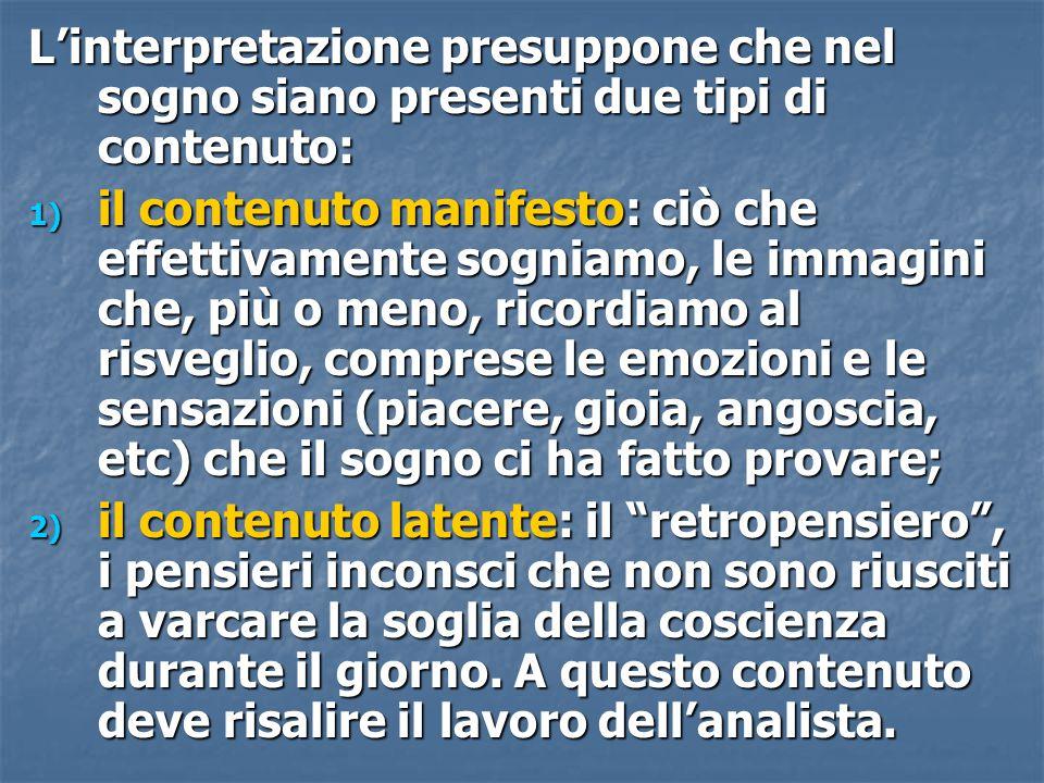 L'interpretazione presuppone che nel sogno siano presenti due tipi di contenuto: 1) il contenuto manifesto: ciò che effettivamente sogniamo, le immagi