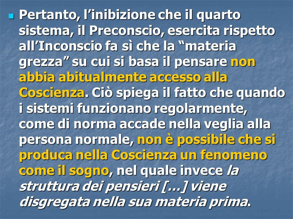 """Pertanto, l'inibizione che il quarto sistema, il Preconscio, esercita rispetto all'Inconscio fa sì che la """"materia grezza"""" su cui si basa il pensare n"""