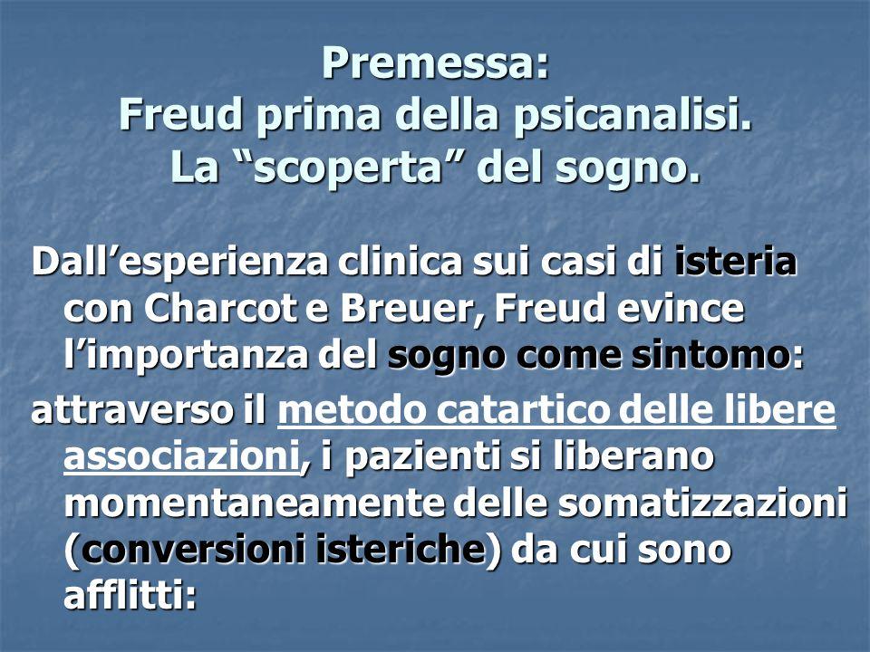 """Premessa: Freud prima della psicanalisi. La """"scoperta"""" del sogno. Dall'esperienza clinica sui casi di isteria con Charcot e Breuer, Freud evince l'imp"""