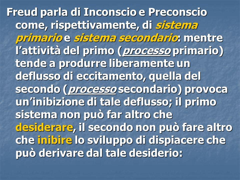 Freud parla di Inconscio e Preconscio come, rispettivamente, di sistema primario e sistema secondario: mentre l'attività del primo (processo primario)