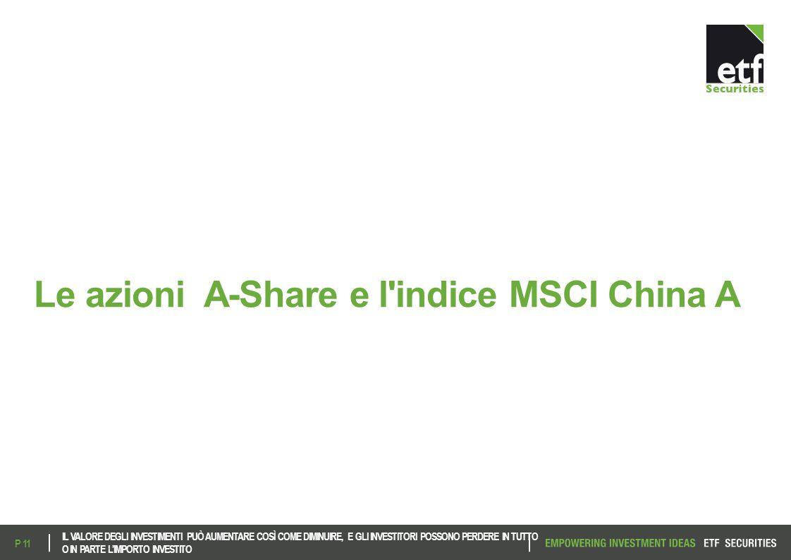 Le azioni A-Share e l'indice MSCI China A IL VALORE DEGLI INVESTIMENTI PUÒ AUMENTARE COSÌ COME DIMINUIRE, E GLI INVESTITORI POSSONO PERDERE IN TUTTO O