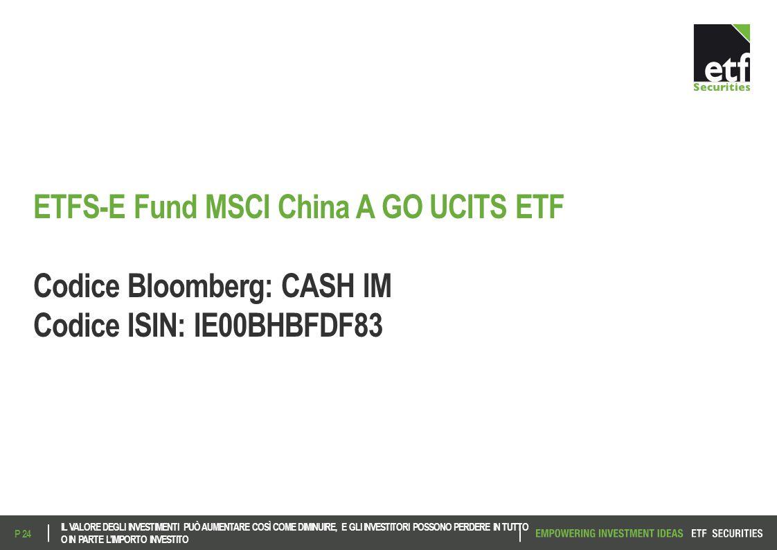 ETFS-E Fund MSCI China A GO UCITS ETF Codice Bloomberg: CASH IM Codice ISIN: IE00BHBFDF83 IL VALORE DEGLI INVESTIMENTI PUÒ AUMENTARE COSÌ COME DIMINUI