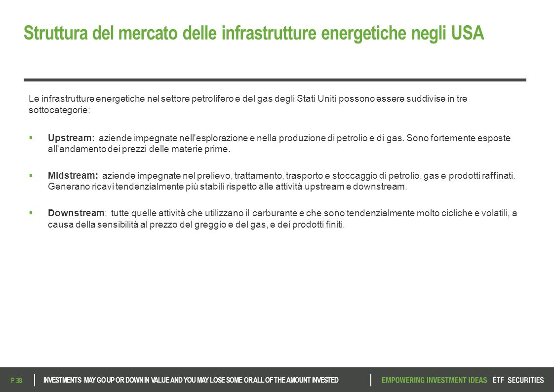 Struttura del mercato delle infrastrutture energetiche negli USA INVESTMENTS MAY GO UP OR DOWN IN VALUE AND YOU MAY LOSE SOME OR ALL OF THE AMOUNT INV