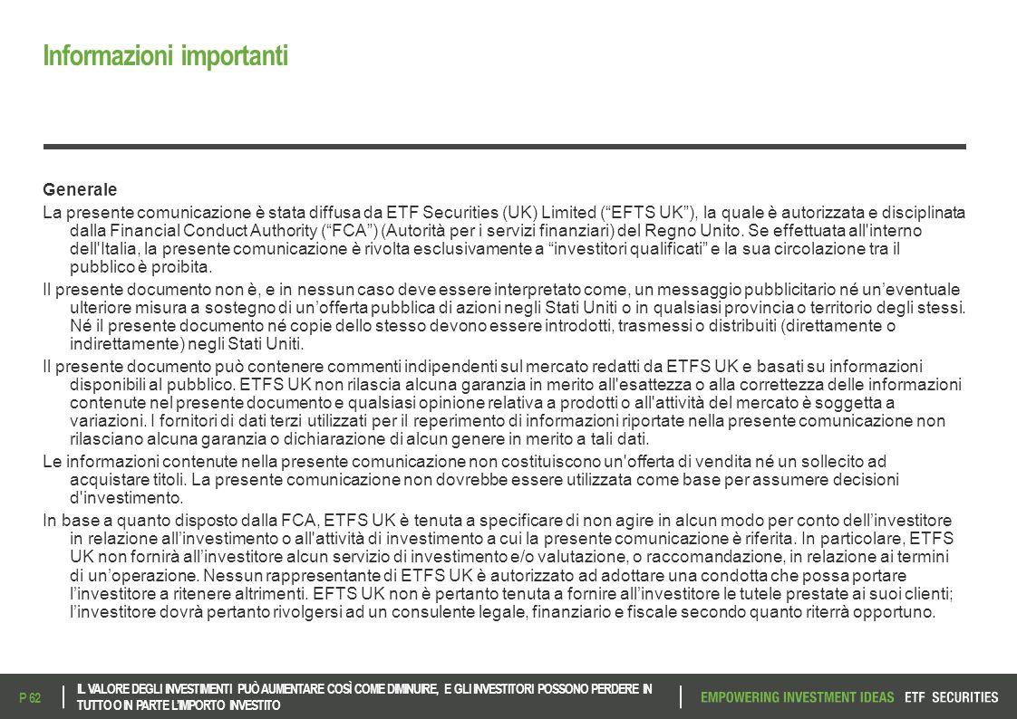 """Informazioni importanti Generale La presente comunicazione è stata diffusa da ETF Securities (UK) Limited (""""EFTS UK""""), la quale è autorizzata e discip"""