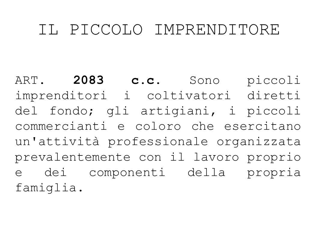 IL PICCOLO IMPRENDITORE ART.2083 c.c.