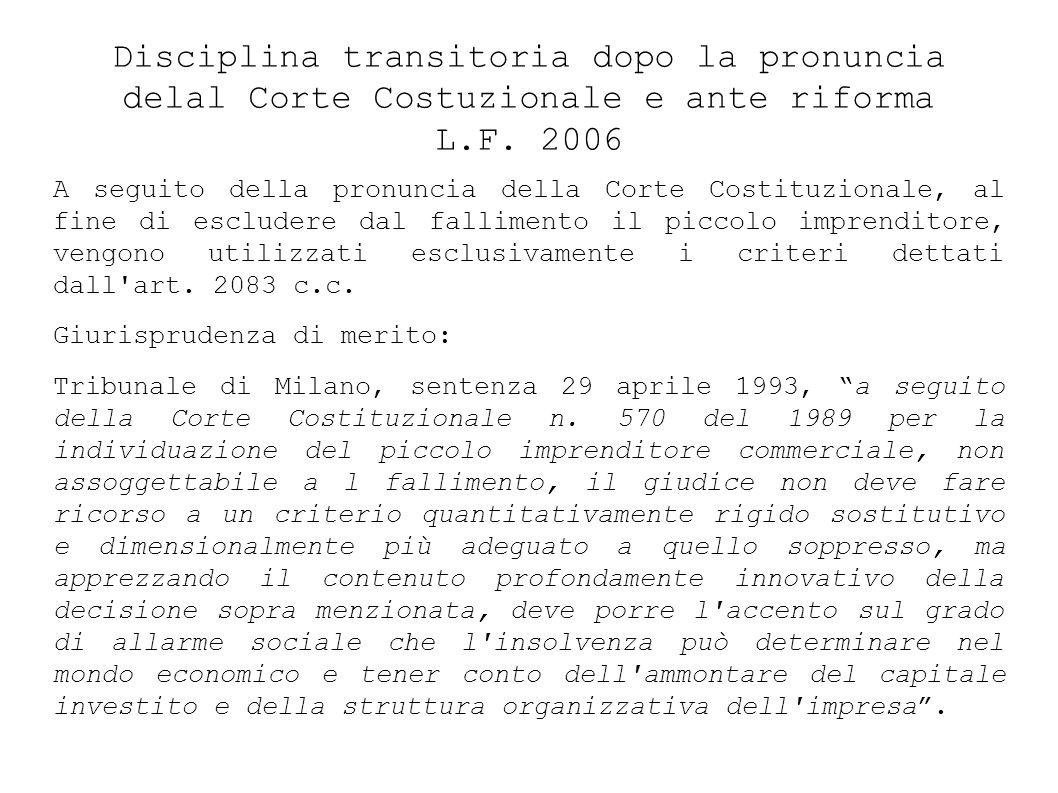 Disciplina transitoria dopo la pronuncia delal Corte Costuzionale e ante riforma L.F.