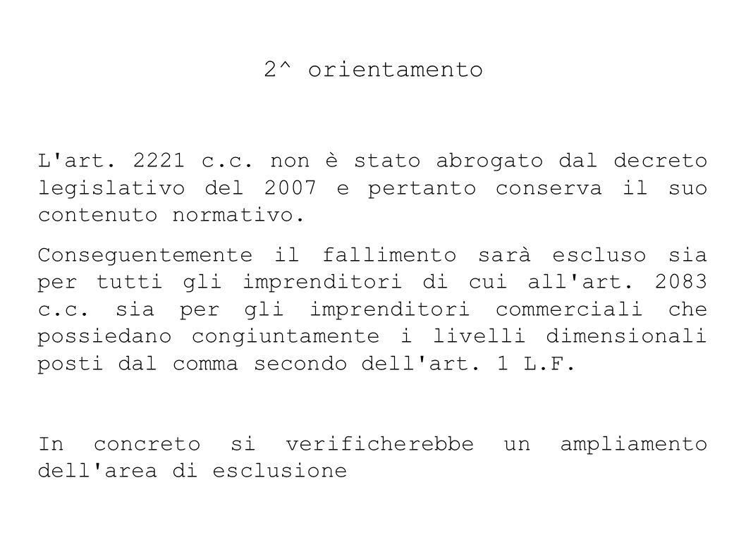 2^ orientamento L art.2221 c.c.