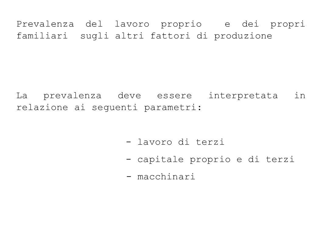 Prevalenza del lavoro proprio e dei propri familiari sugli altri fattori di produzione La prevalenza deve essere interpretata in relazione ai seguenti parametri: - lavoro di terzi - capitale proprio e di terzi - macchinari