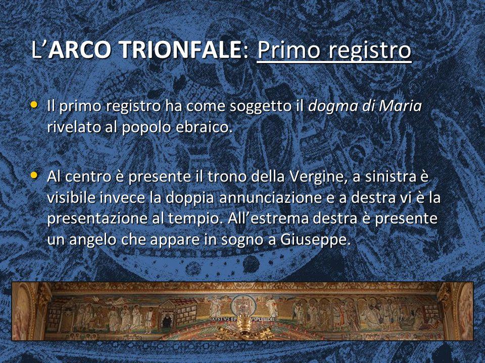 L'ARCO TRIONFALE: Primo registro Il primo registro ha come soggetto il dogma di Maria rivelato al popolo ebraico. Il primo registro ha come soggetto i