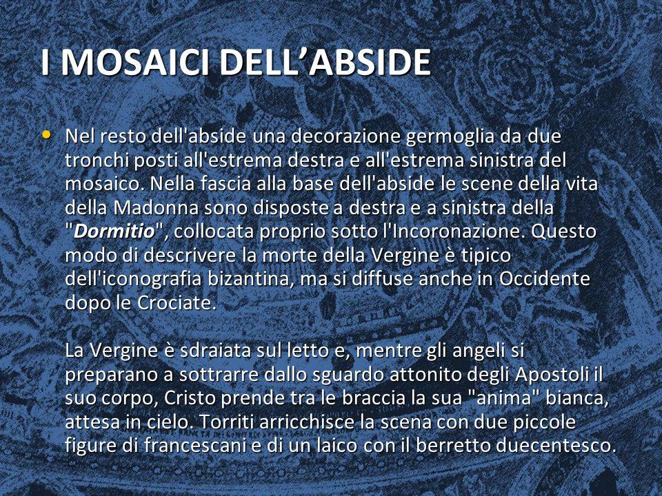 I MOSAICI DELL'ABSIDE Nel resto dell'abside una decorazione germoglia da due tronchi posti all'estrema destra e all'estrema sinistra del mosaico. Nell