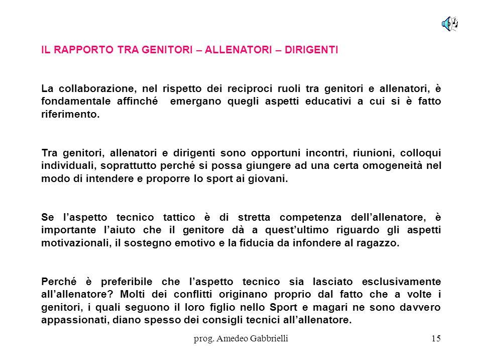 prog. Amedeo Gabbrielli15 IL RAPPORTO TRA GENITORI – ALLENATORI – DIRIGENTI La collaborazione, nel rispetto dei reciproci ruoli tra genitori e allenat