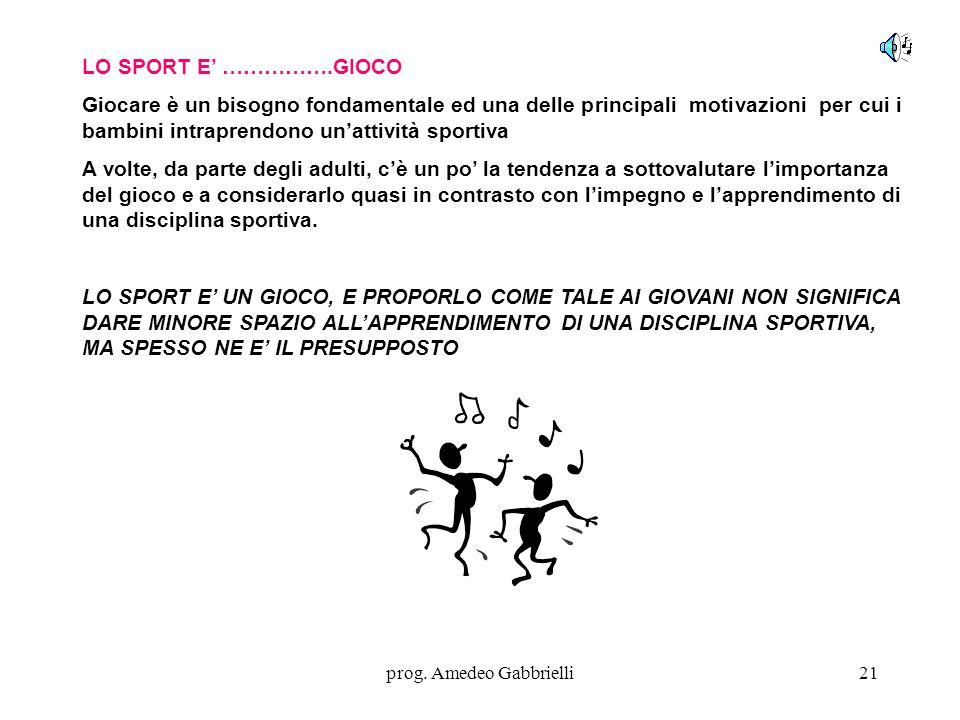 prog. Amedeo Gabbrielli21 LO SPORT E' …………….GIOCO Giocare è un bisogno fondamentale ed una delle principali motivazioni per cui i bambini intraprendon