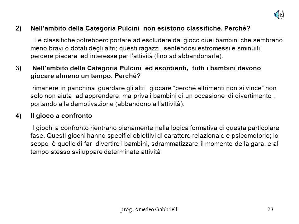 prog. Amedeo Gabbrielli23 2)Nell'ambito della Categoria Pulcini non esistono classifiche. Perché? Le classifiche potrebbero portare ad escludere dal g