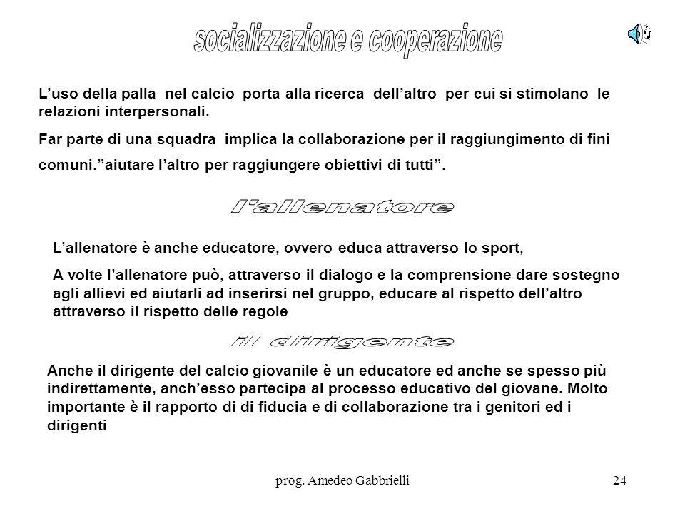prog. Amedeo Gabbrielli24 L'uso della palla nel calcio porta alla ricerca dell'altro per cui si stimolano le relazioni interpersonali. Far parte di un